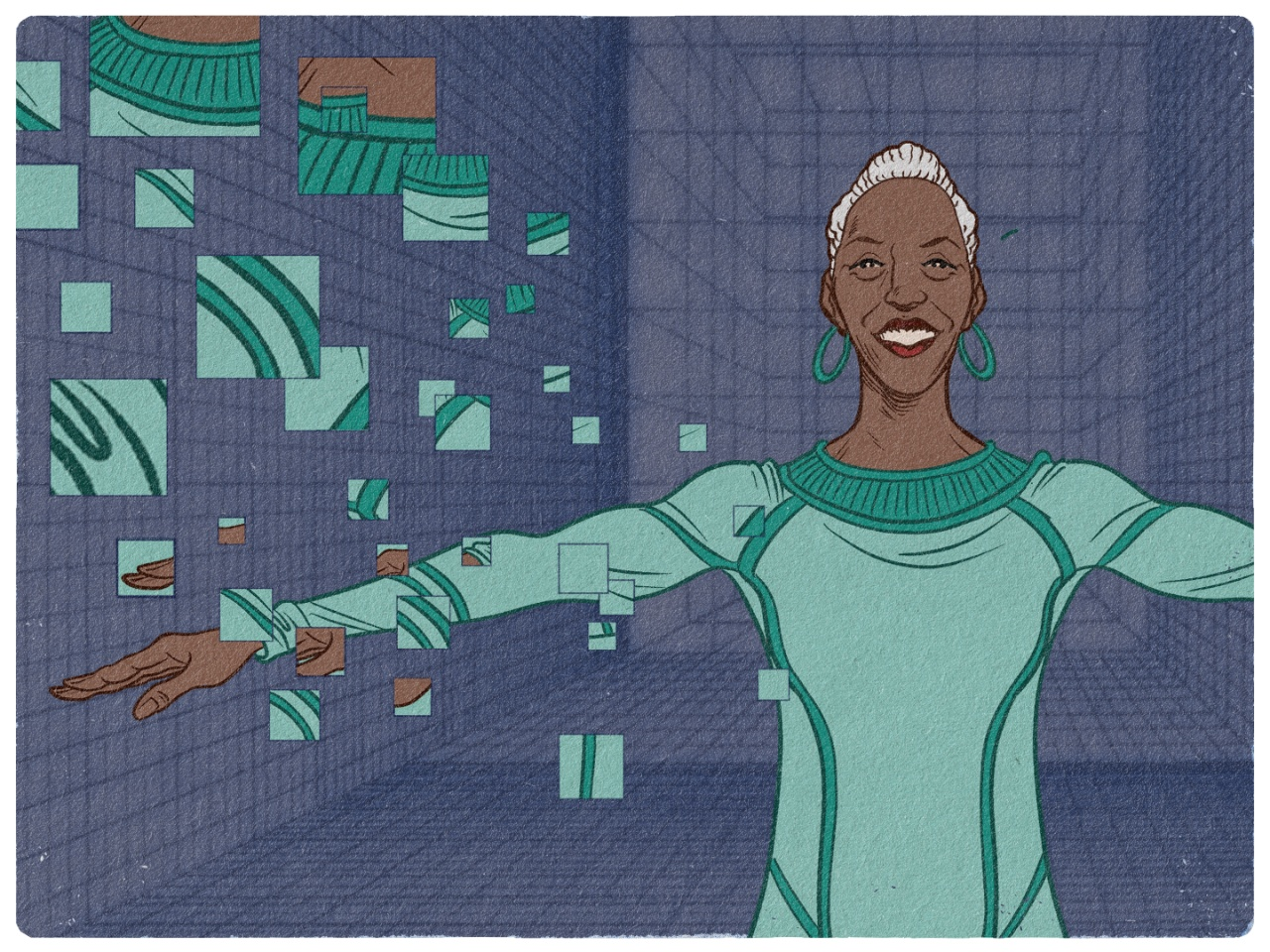 An illustration of a woman in a futuristic setting with her arms stretched out