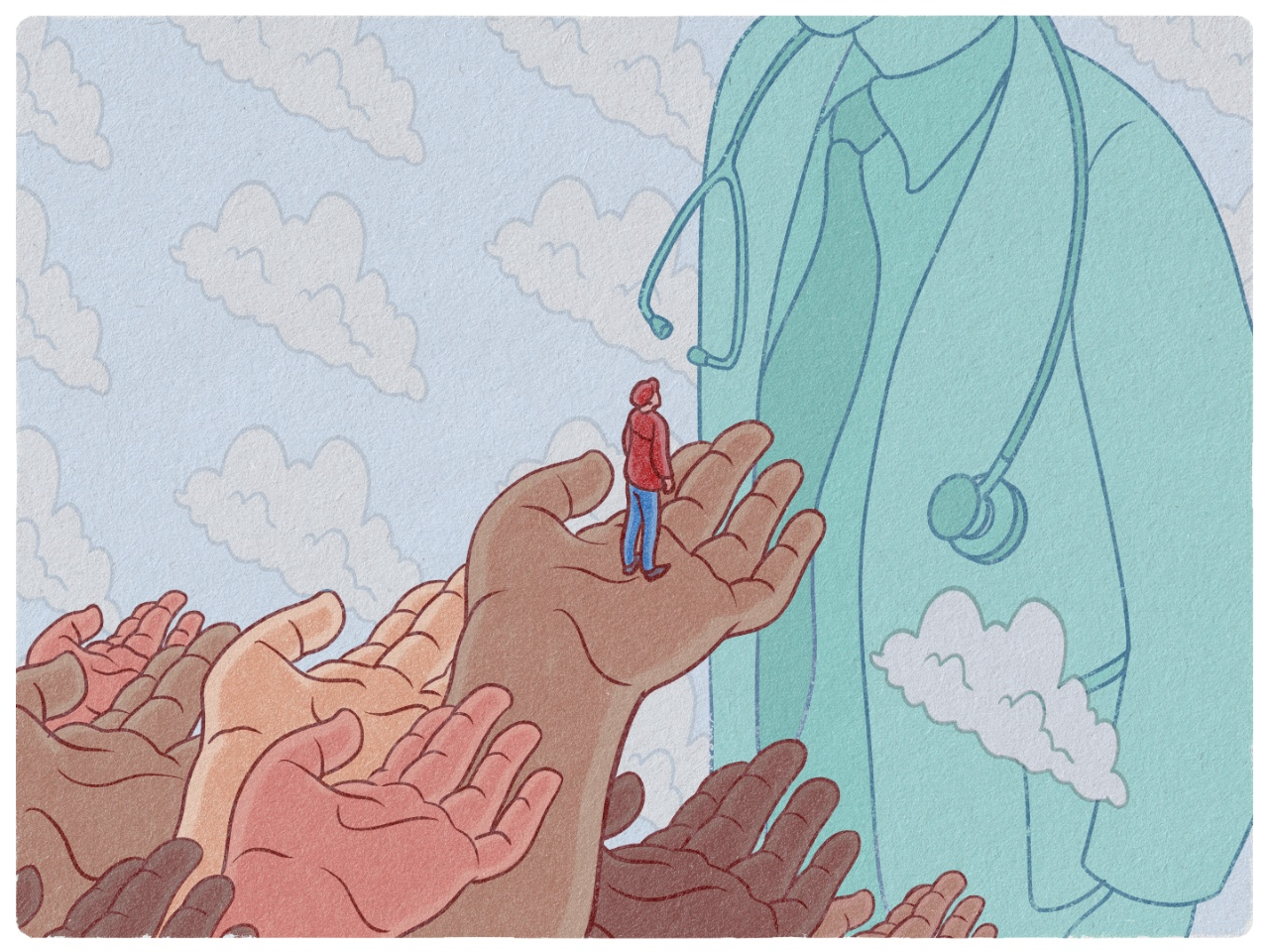 An illustration of a person receiving help with their healthcare by being lifted up on the hands of others.