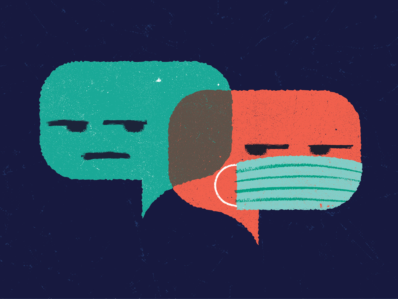 An illustration of two conversation bubbles — one with a protective mask and one without.