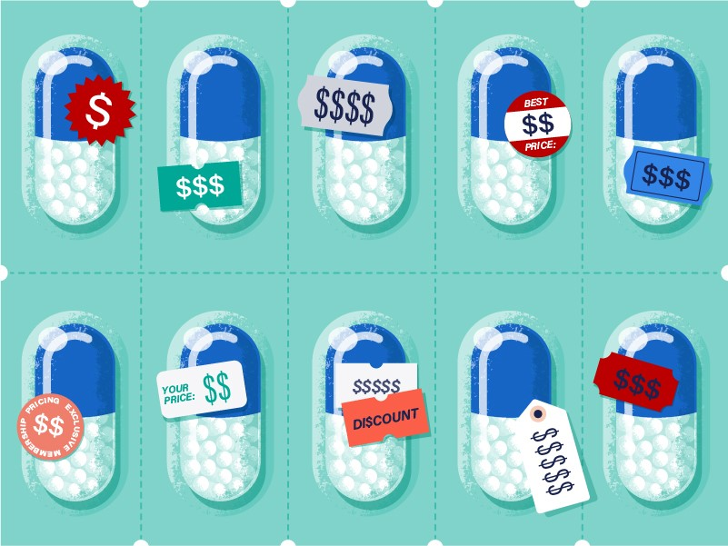 An illustration of the same medication costing different prices