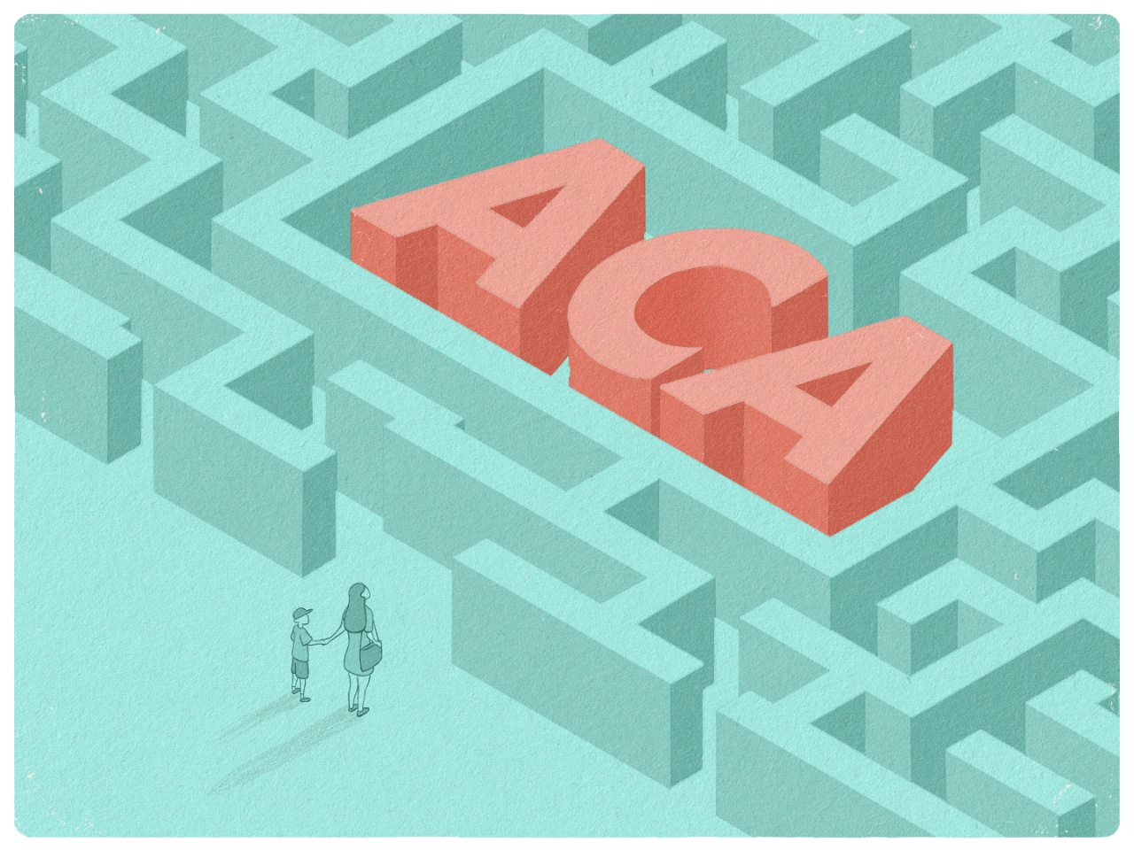 An illustration of people standing at the entrance to a maze with the letters ACA appearing in the middle of the maze.
