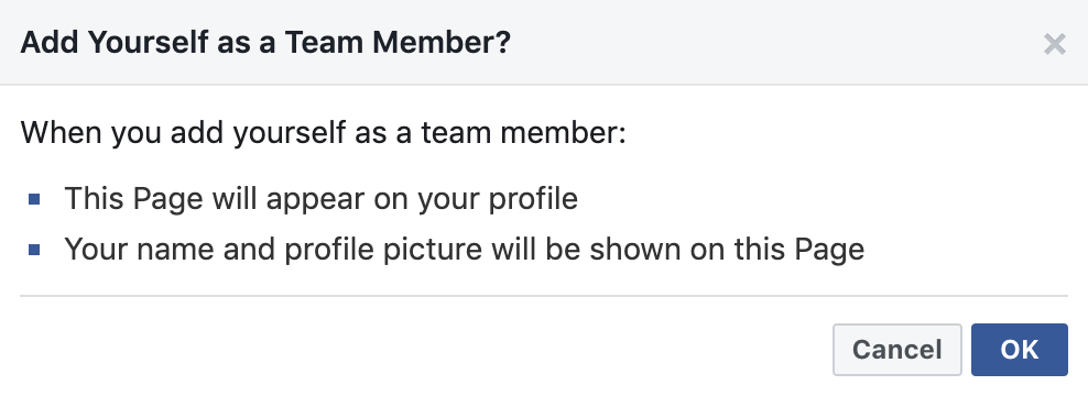 Add yourself to the team Facebook