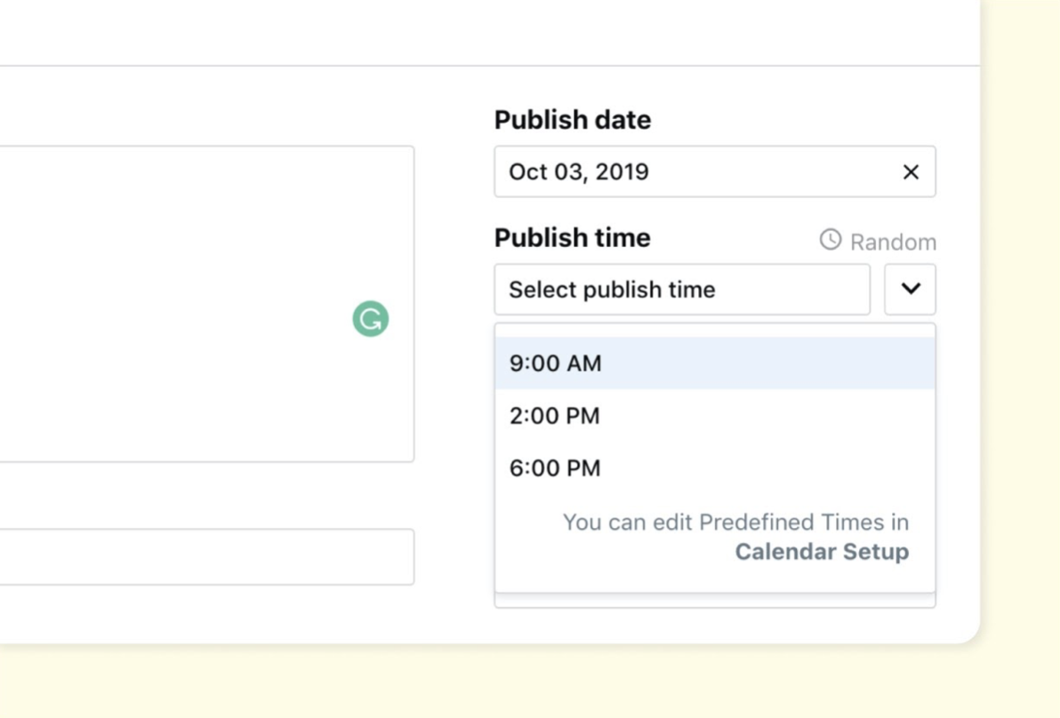 How to preset times in ContentCal: