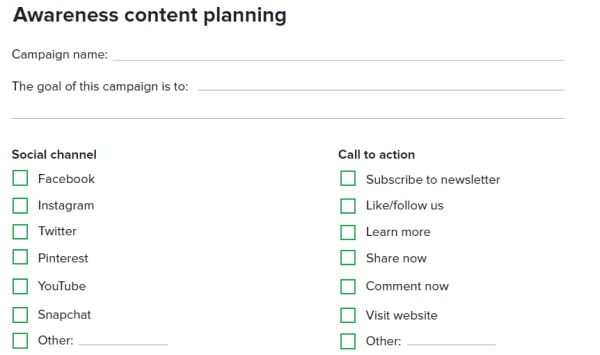 awareness content planning