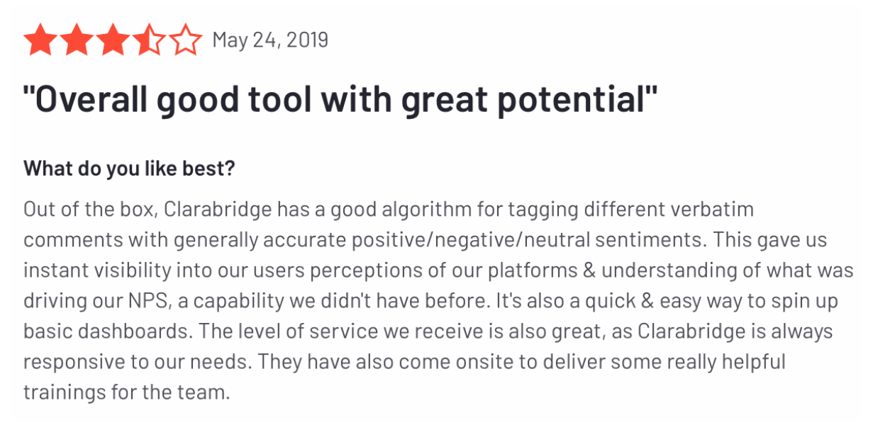 Clarabridge Engage reviews