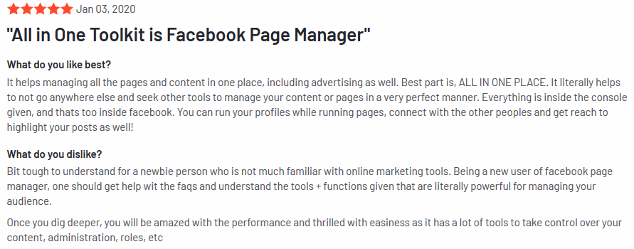 Facebook Page Manager review