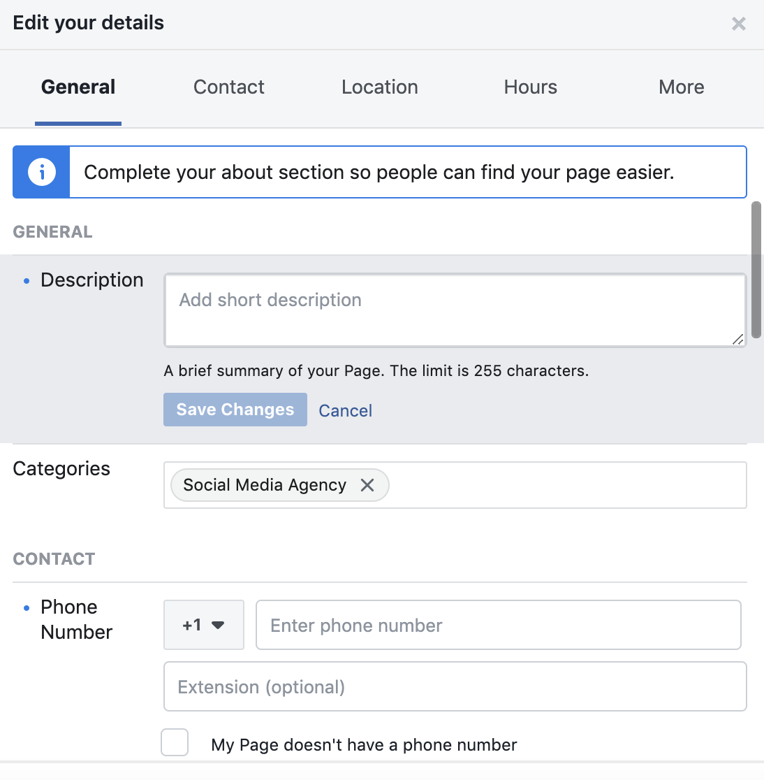 Edit your details Facebook