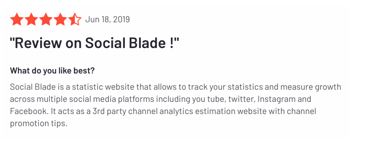 Social Blade reviews