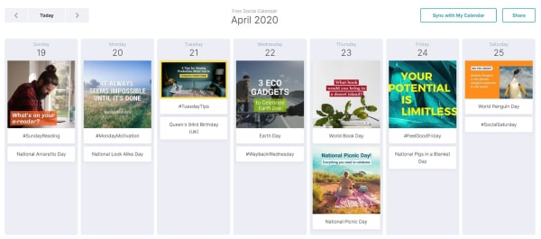 wave's social calendar screenshot