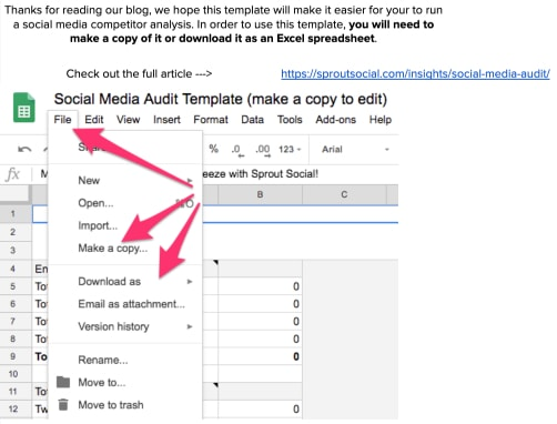 social media audit template excel screenshot