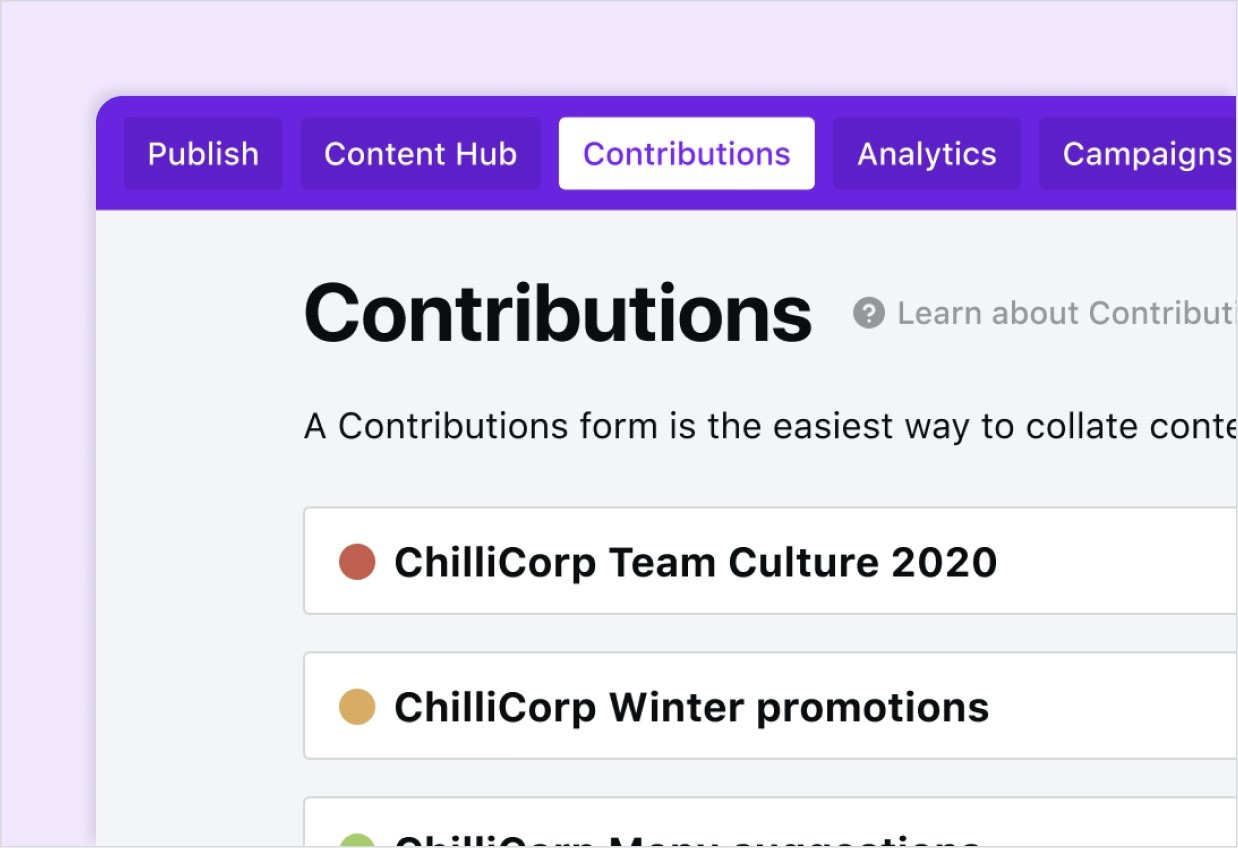 Contributions tab