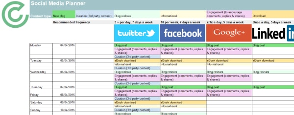 social media content planner screenshot