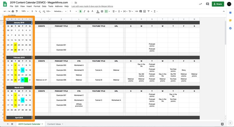 google sheets screenshot 1