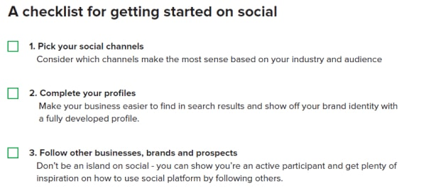 checklist for getting started on social media