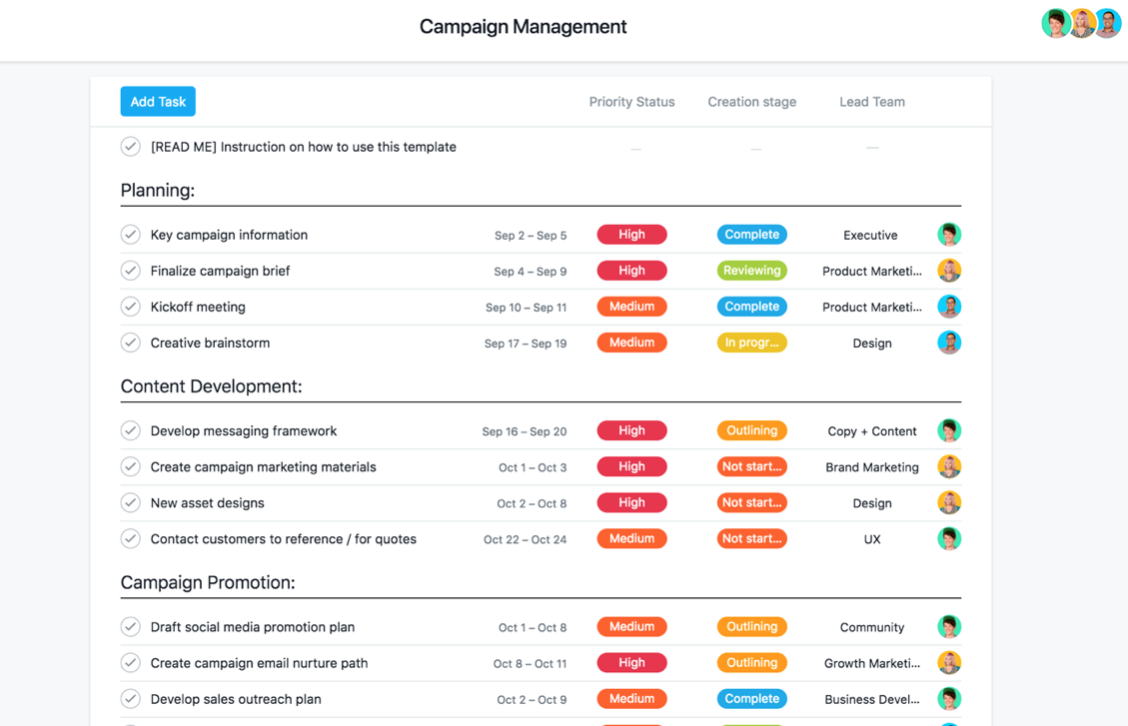 Marketing campaign management template free