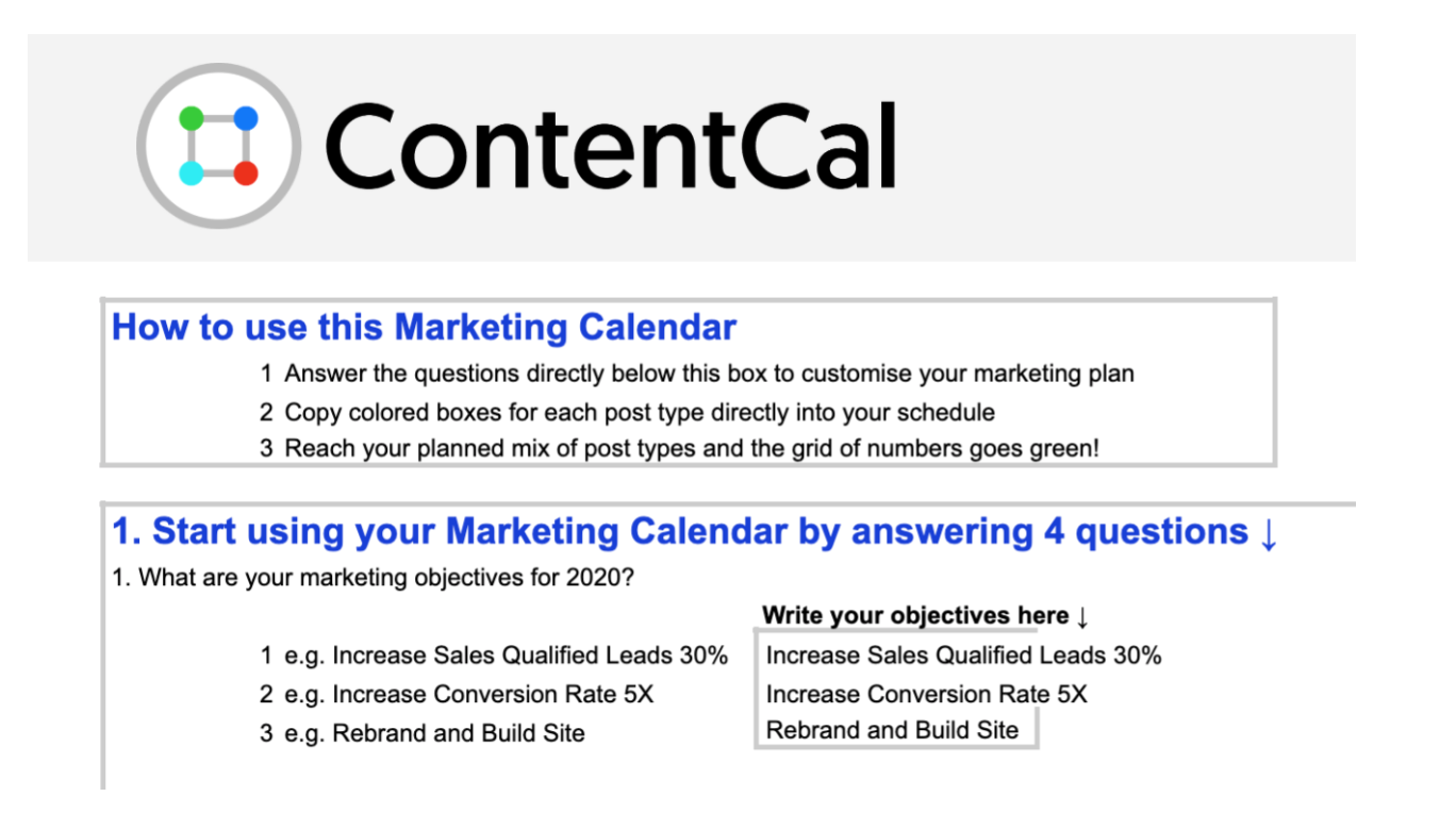ContentCal marketing calendar template