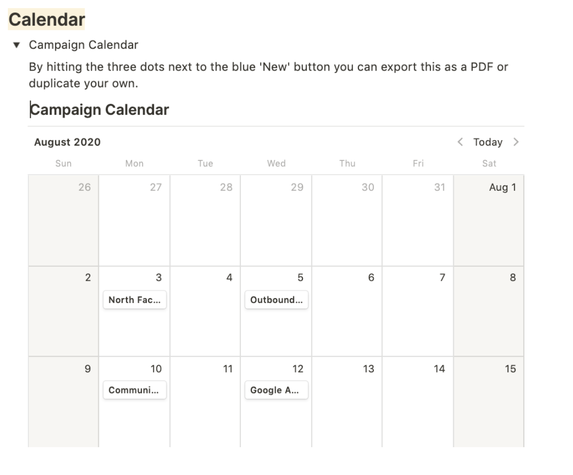 How to create campaign calendar for your business
