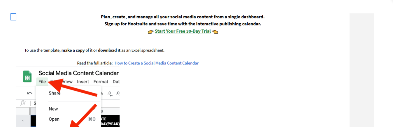 Hootsuite content marketing calendar template