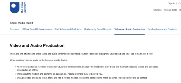 open university video and audio production