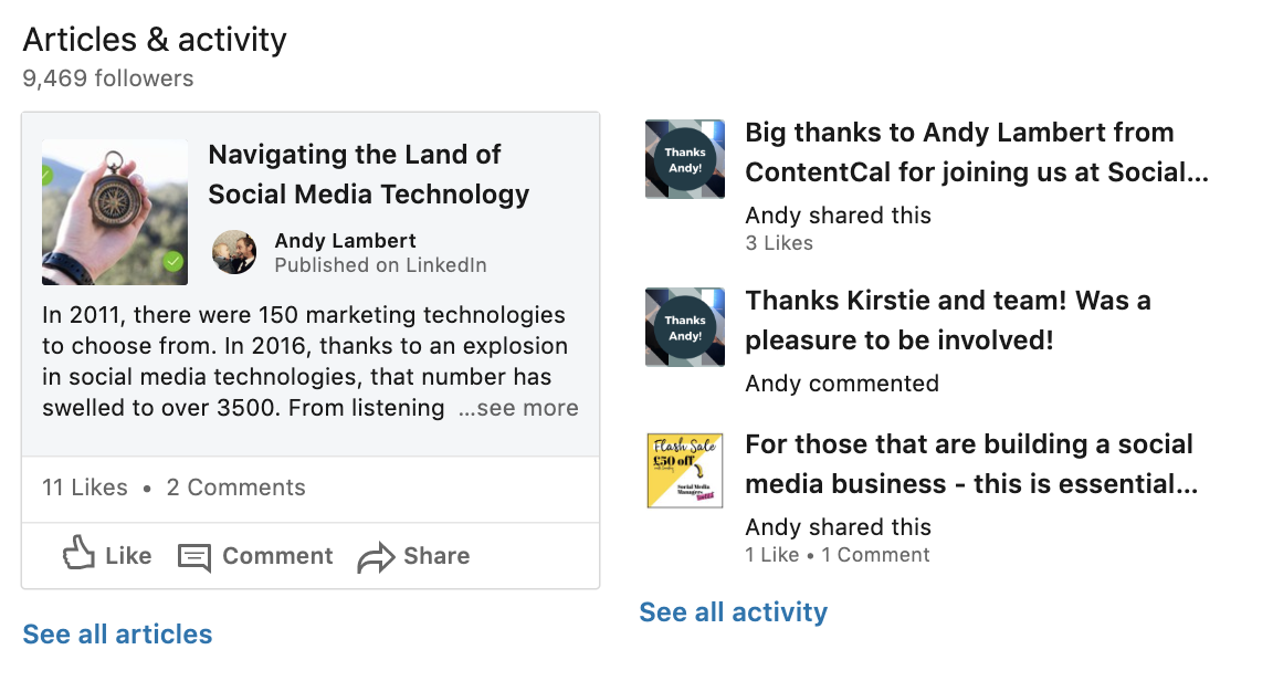 Articles & Activity Linkedin