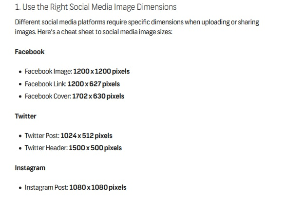 the right social media image dimensions