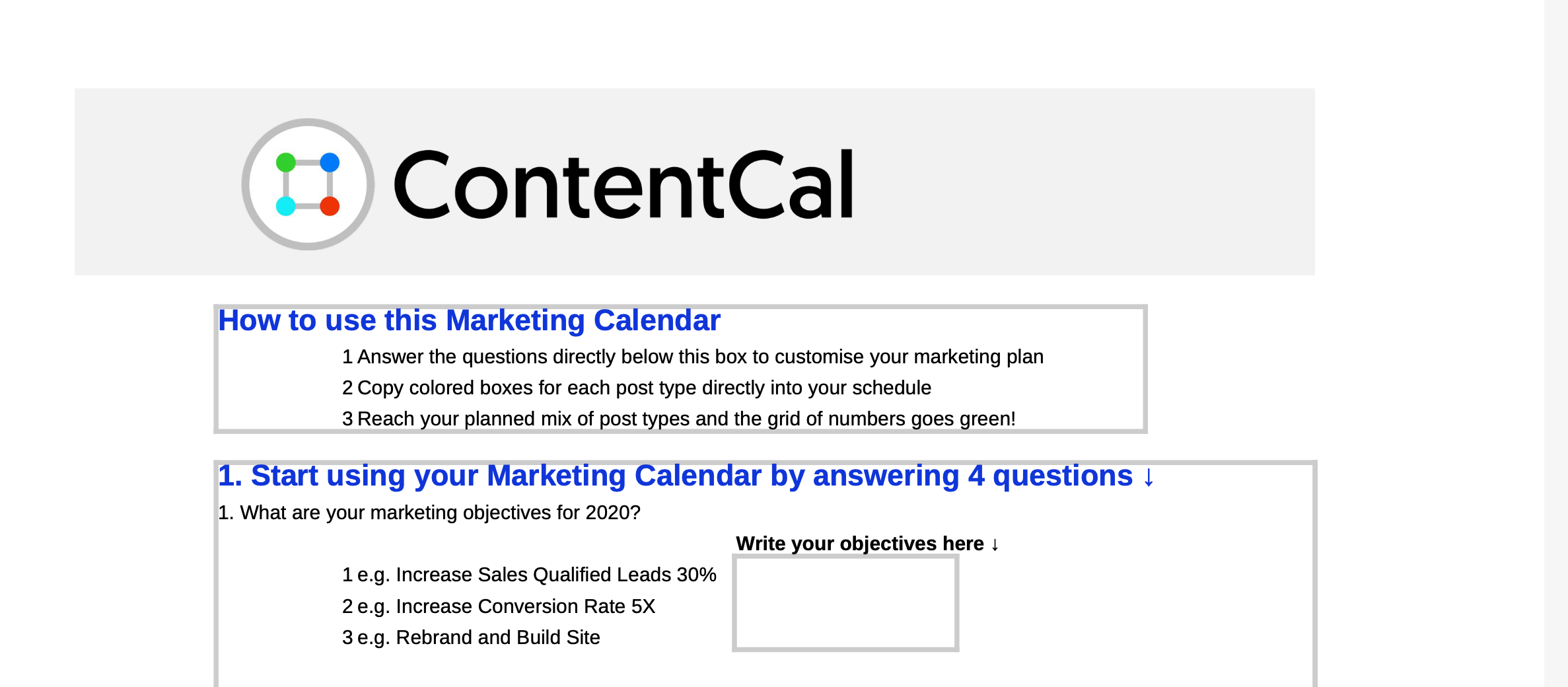 ContentCal's content marketing template