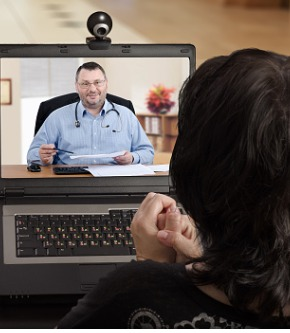 anytime-woman-can-contact-her-doctor-via-internet-picture-id802906760