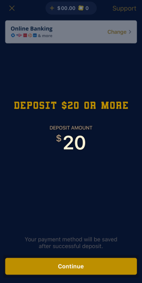 Deposit $20 or more into your account.