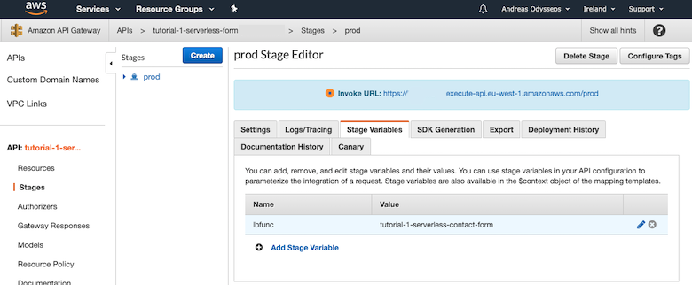 Set stage variable