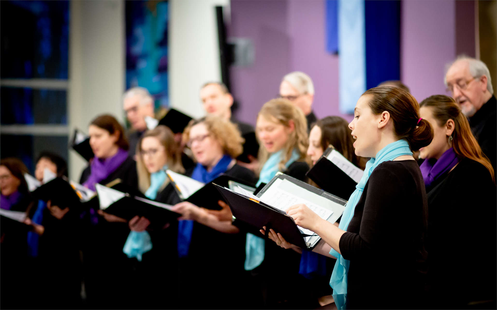 Chorists singing in concert