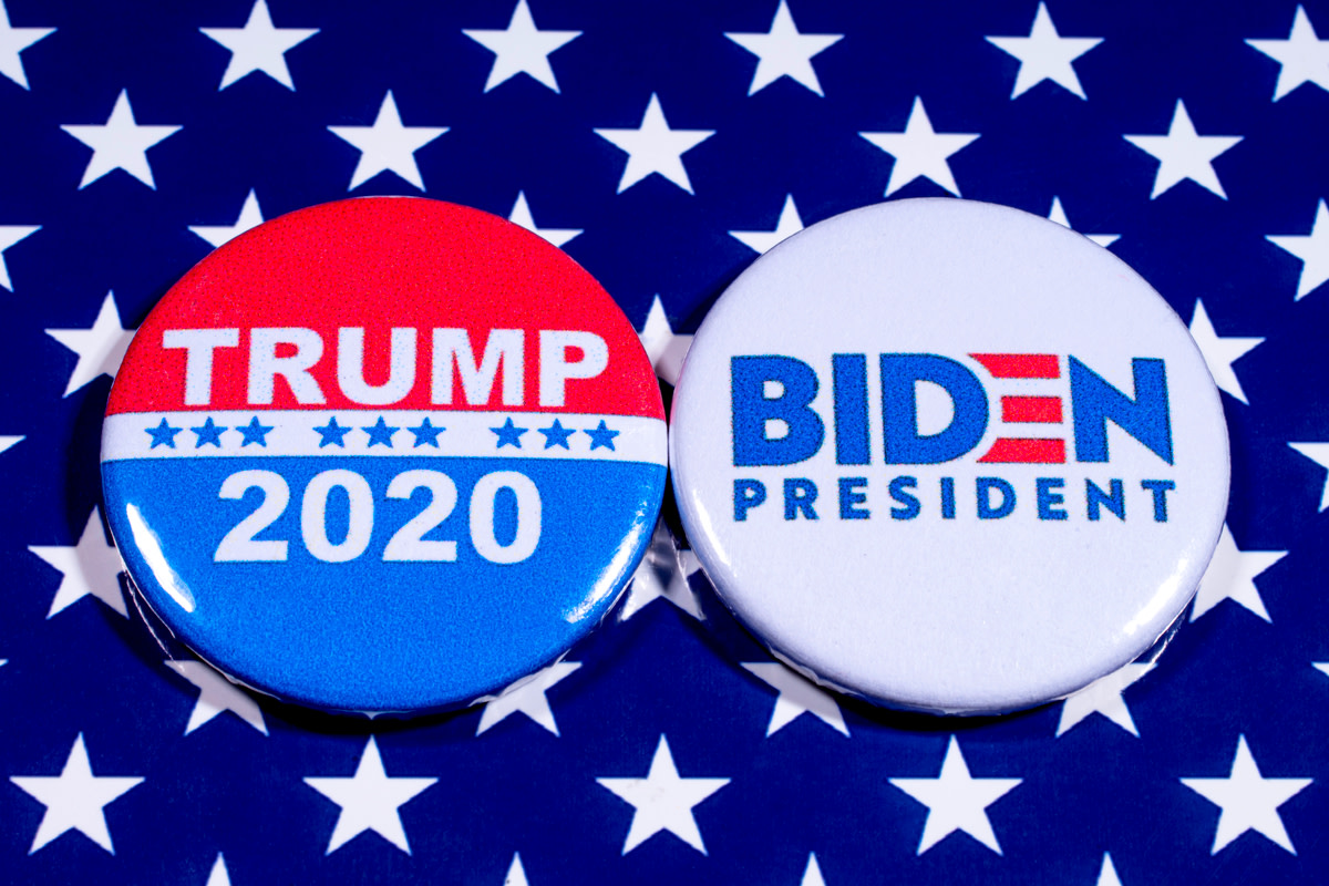 Donald Trump and Joe Biden pin badges