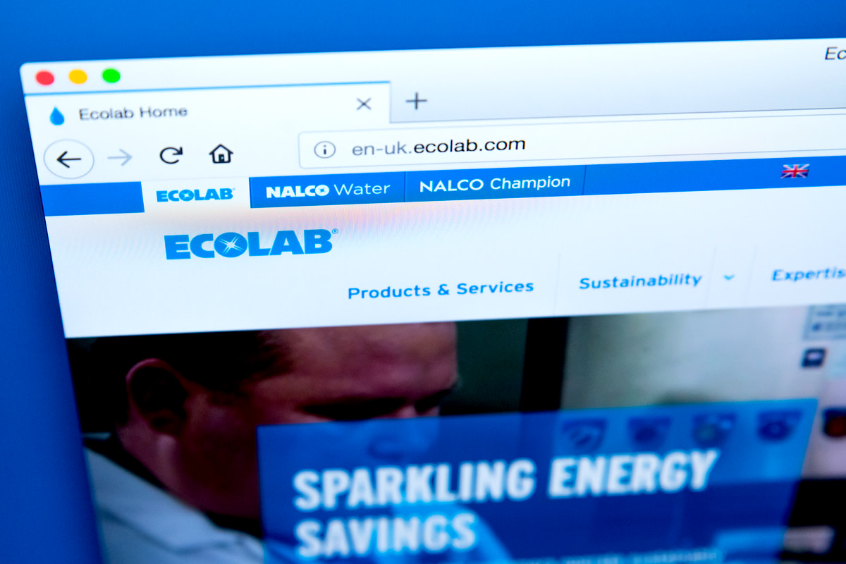 Homepage of the website for Ecolab