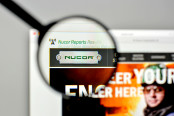 Nucor logo on the website homepage