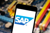 SAP logo on the mobile device