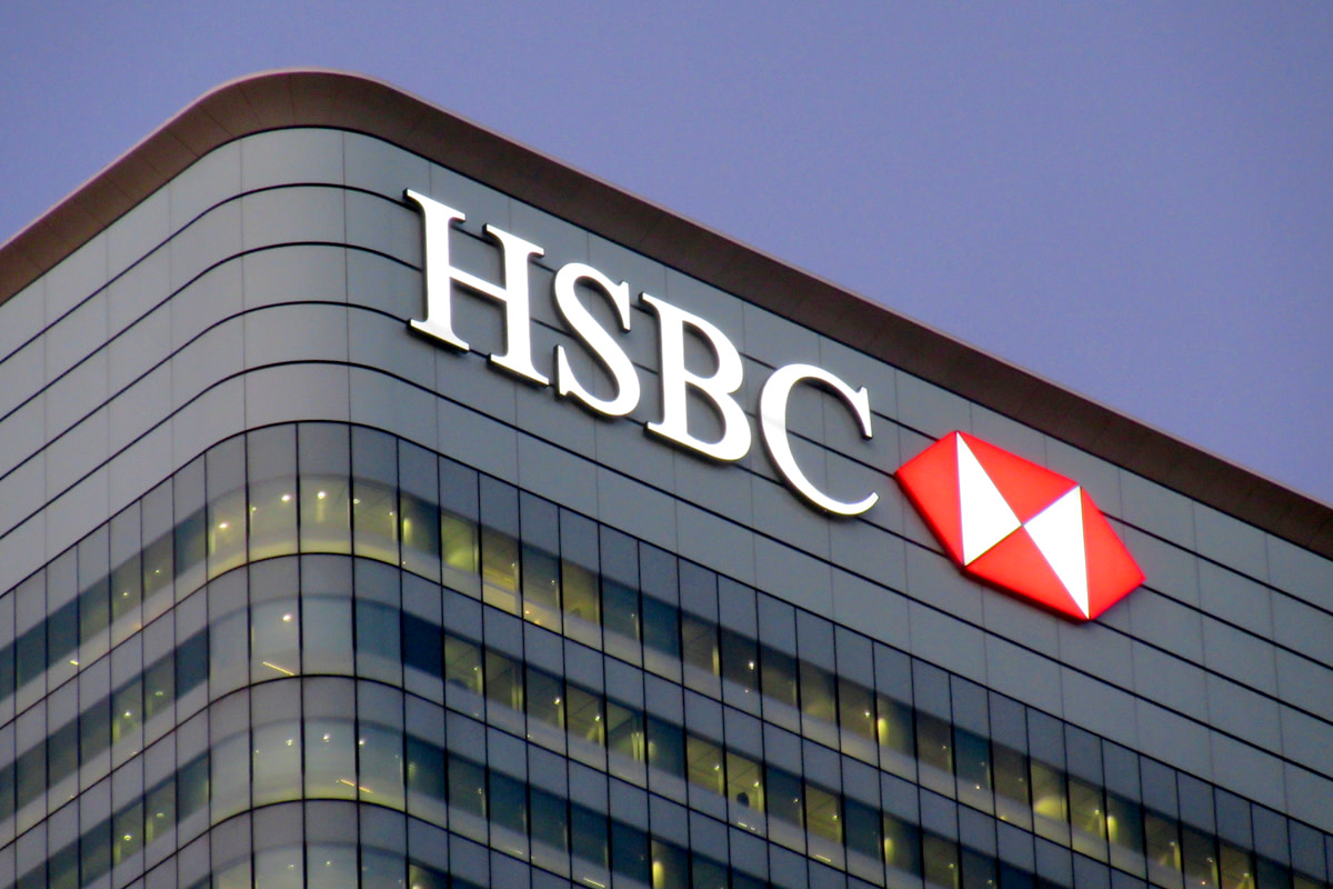 HSBC building in Canary Wharf financial centre.