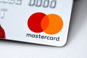 Close up of a mastercard logo on a bank credit card