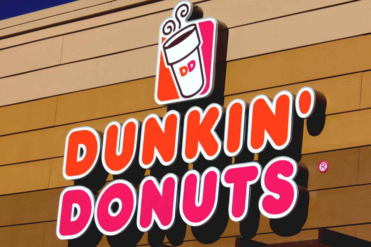 A store front sign for Dunkin