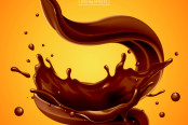 Splashing and whirl chocolate liquid