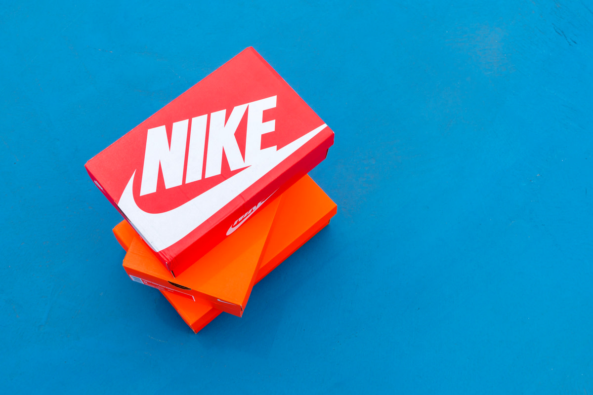 Nike box of shoes on court