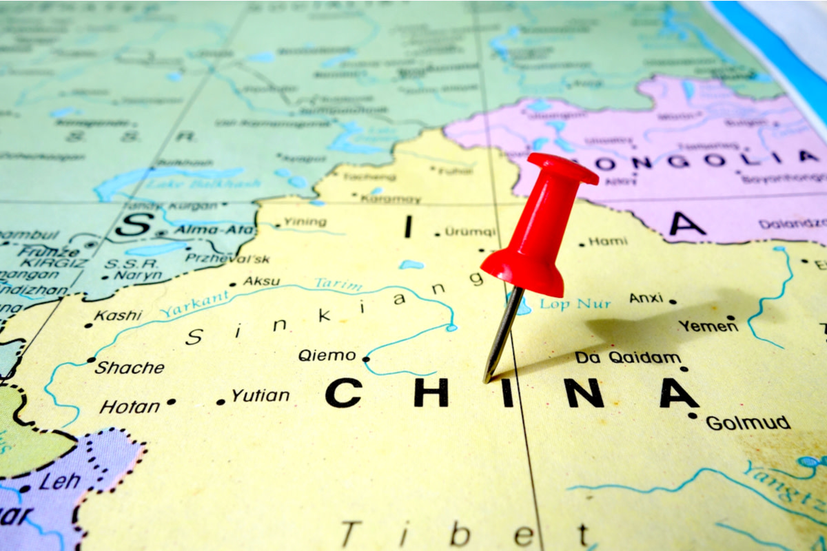 pushpin marking on China map