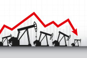 Abstract Business chart with Oil pumps and down arrows