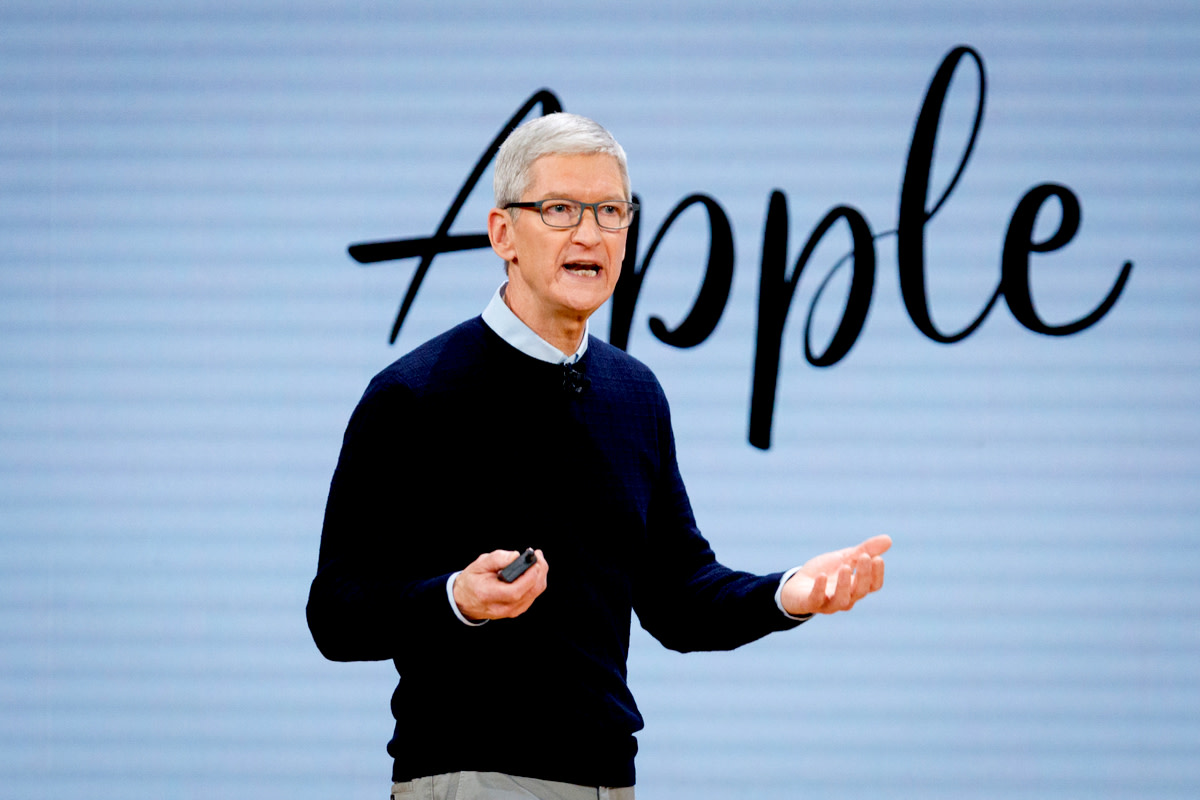 Tim Cook, CEO of Apple Inc., speaks during the launch event