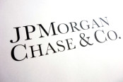 Corporate lettering of J.P. Morgan Chase & Co.