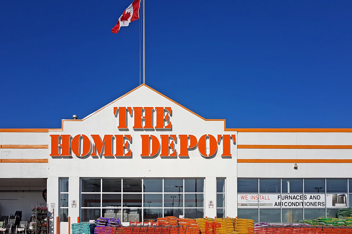 The front view of Home Depot Store