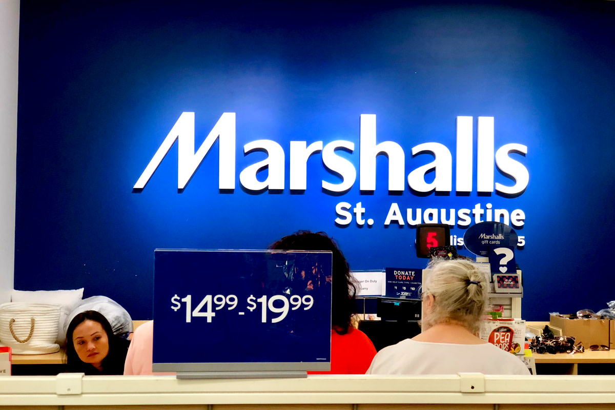 People waiting to pay at Marshall's. Saint Augustine, Florida USA