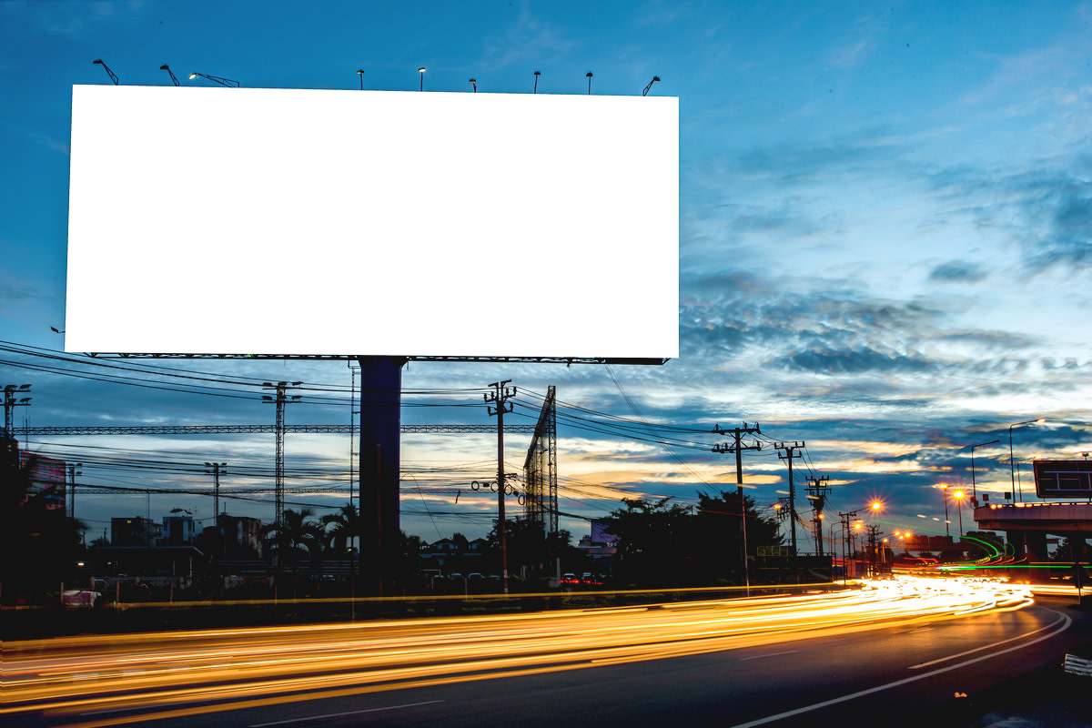 blank billboard at night time