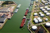 Aerial view of oil tankers at a oil storage terminal