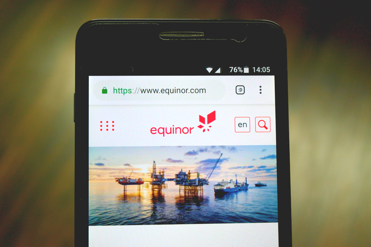 Official website of Equinor displayed on a smartphone