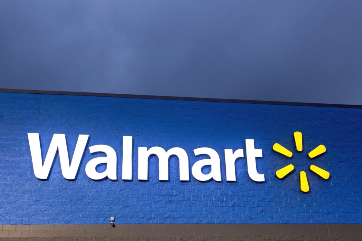 Walmart supercenter sign illuminated at night