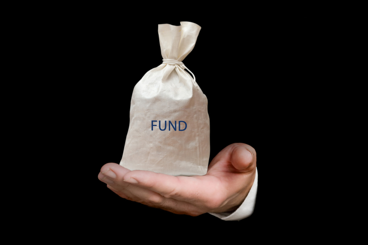 Bag with fund sign